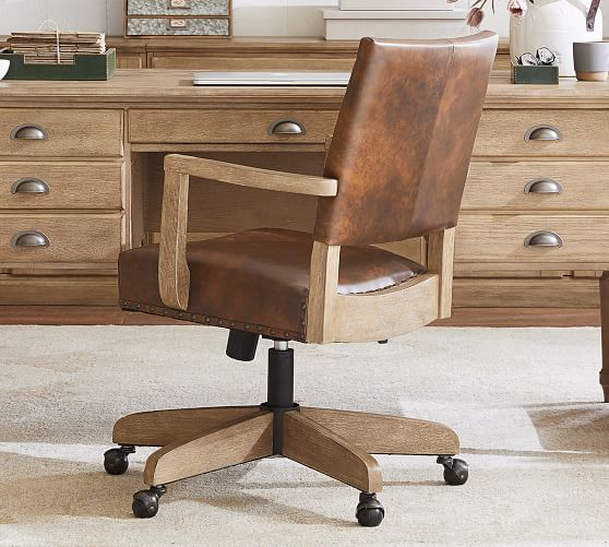 Manchester Leather Swivel Desk Chair