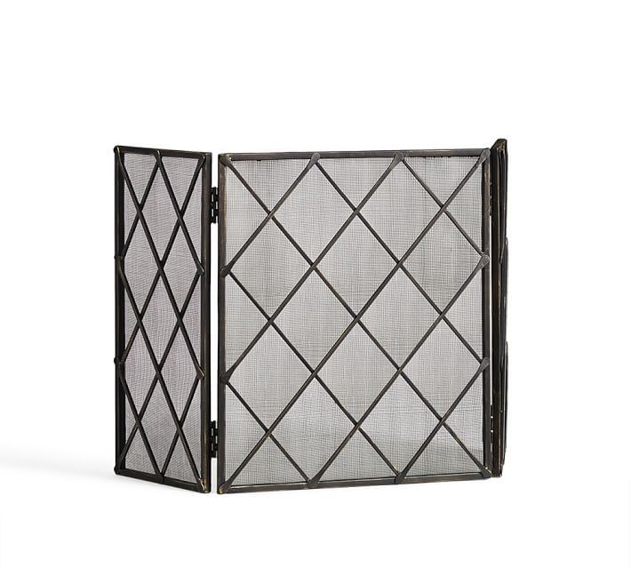 Lattice Fireplace Triple Screen Pottery Barn