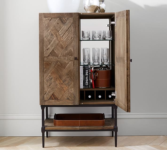 Parquet Bar Cabinet Bar Furniture Pottery Barn