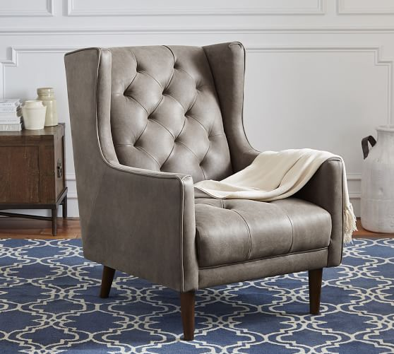 Asher Leather Armchair Pottery Barn