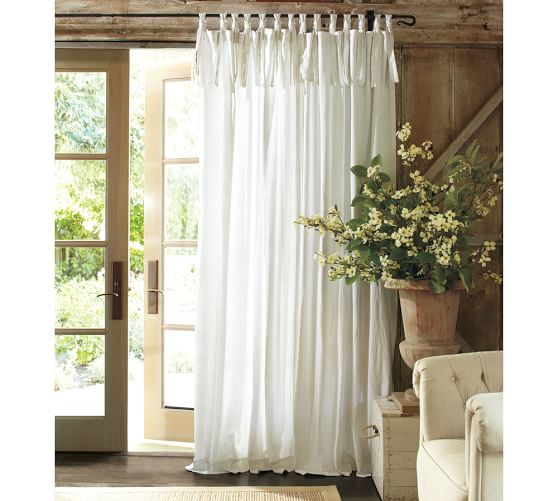 Textured Cotton Tie Top Curtain