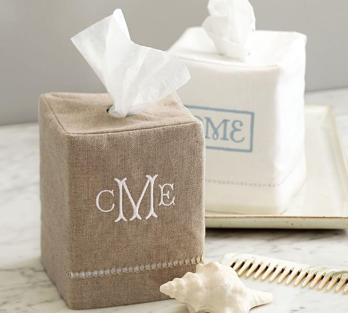 Linen Hemsch Tissue Box Cover
