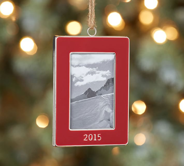 2015 Dated Red Enamel Frame Christmas Ornament Pottery Barn