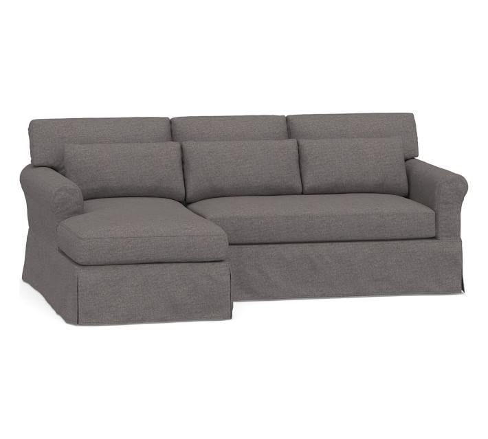 York Roll Arm Slipcovered Deep Seat Right Arm Sofa with ...