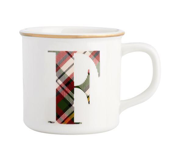 Plaid Alphabet Mug Pottery Barn