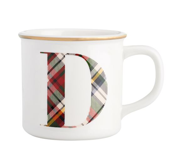 Plaid Alphabet Mug Pottery Barn