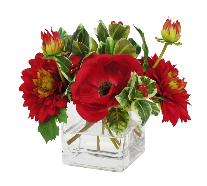 Faux Poppy And Dahlia Mixed Arrangement With Holly In