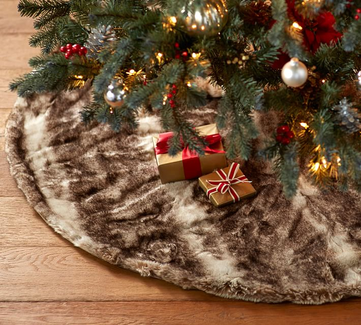 Ombre Faux Fur Tree Skirt Pottery Barn