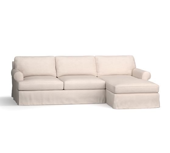 Townsend Roll Arm Slipcovered Sofa with Chaise Sectional ...