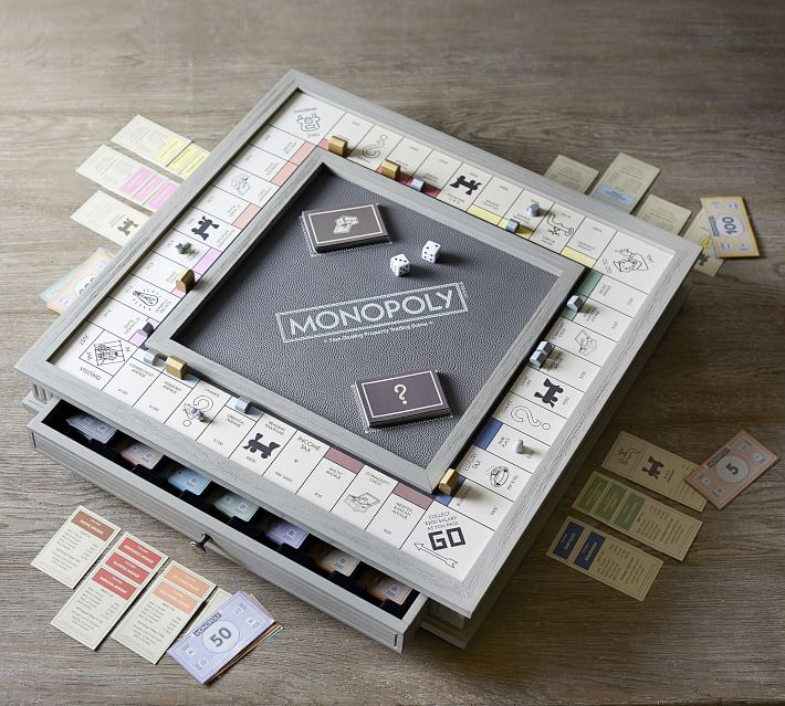 Wooden Monopoly Board Game Luxury Edition Pottery Barn