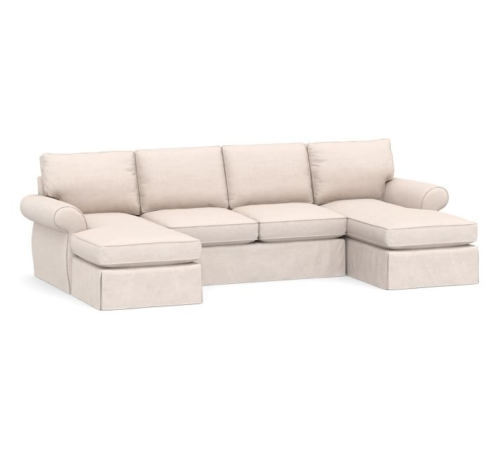 Pearce Roll Arm Slipcovered U Shaped Chaise Sectional