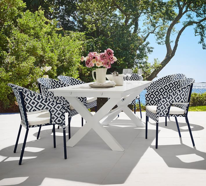 Perfect Pair Indio X Base Metal Extending White Dining
