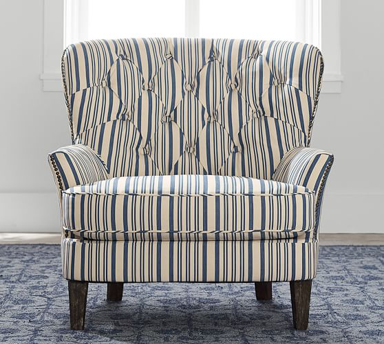 Cardiff Upholstered Tufted Armchair With Nailhead Antique Stripe Pottery Barn,Best Places To Travel In November 2020 Usa