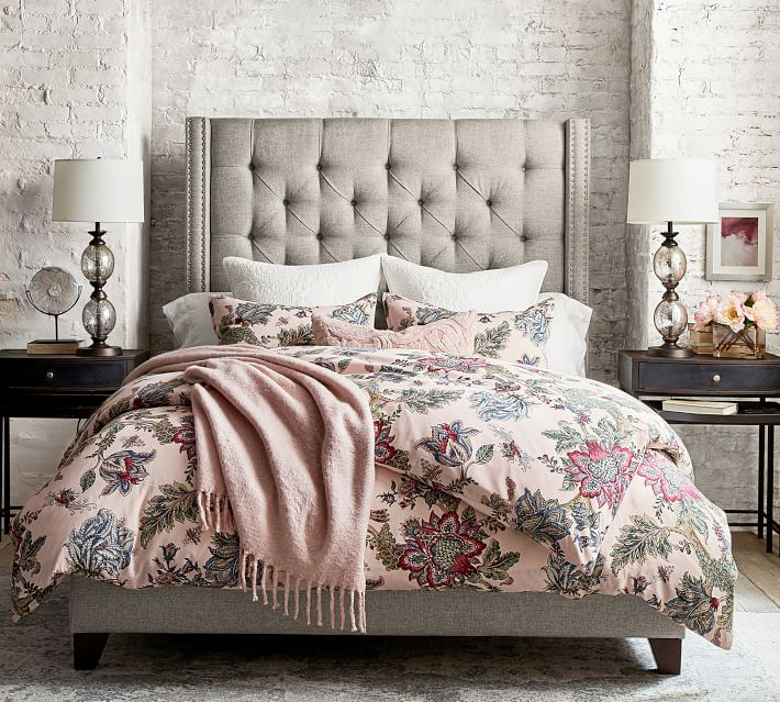 Harper Tufted Upholstered Tall Bed Pottery Barn
