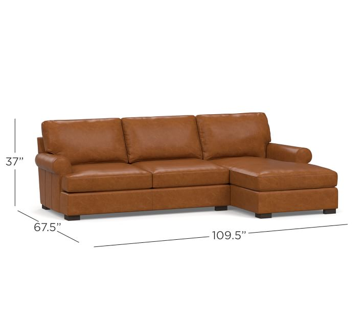 Townsend Roll Arm Leather Sofa Chaise Sectional Pottery Barn