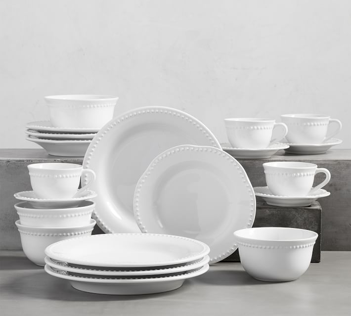 Emma Beaded Stoneware 16 Piece Dinnerware Set With Mug