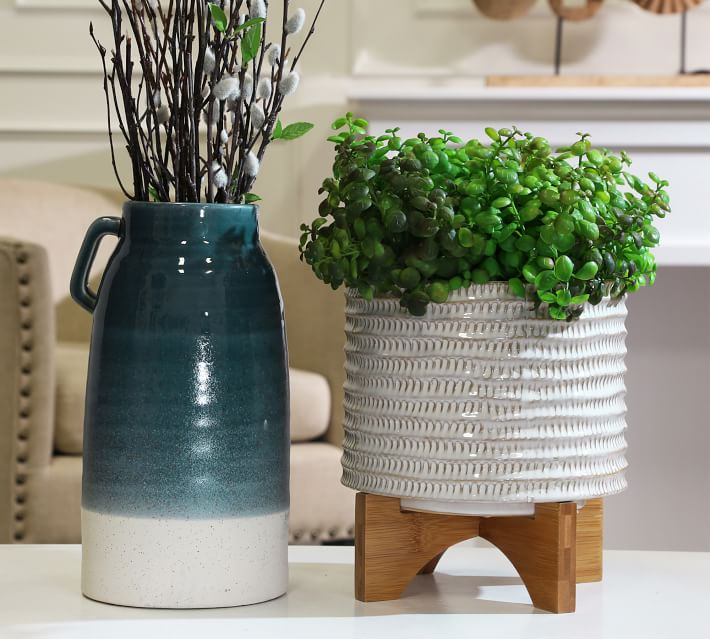 Hazel Textured Ceramic Planter On Wooden Stand Pottery Barn