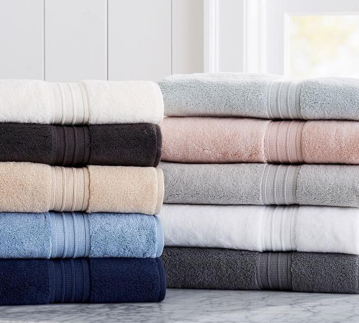 New-Pottery Barn Hydrocotton Quick Drying Bath Towel-Gray Mist