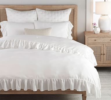 Tencel Ruffle Duvet Cover Amp Shams White Pottery Barn