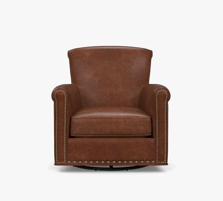 Irving Roll Arm Leather Swivel Glider With Nailheads