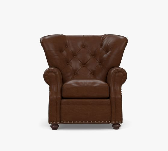 Lansing Tufted Leather Recliner with Nailheads