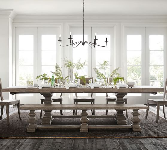 Banks Extending Dining Table Gray Wash Pottery Barn