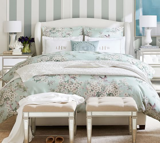 Raleigh Wingback Upholstered Bed Pottery Barn
