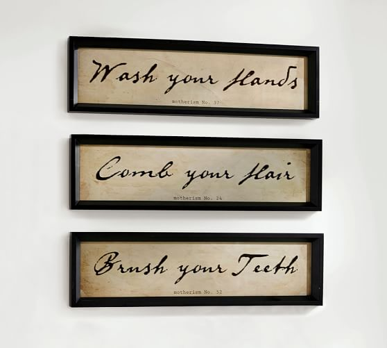 Alder Wood Bathroom Wall Art Set Of 3 Pottery Barn