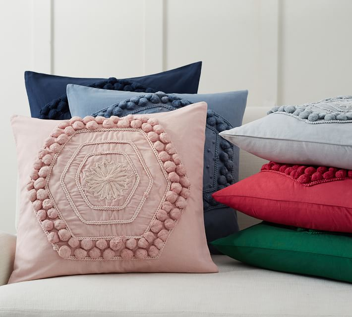 Pom Pom Embroidered Decorative Pillow Cover Pottery Barn