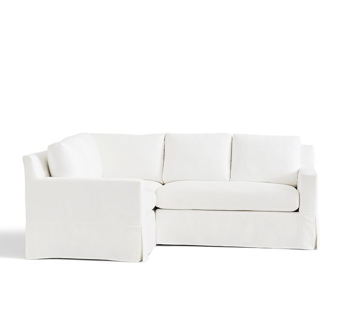 York Square Arm Slipcovered 3 Piece Sectional With Bench