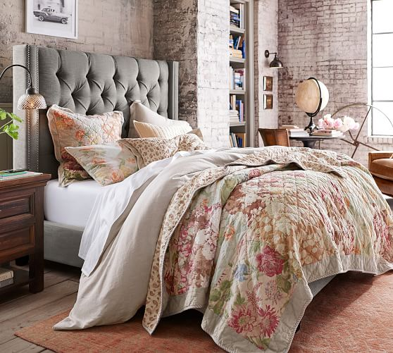 Carolina Floral Patchwork Reversible Cotton Quilt Sham Pottery Barn