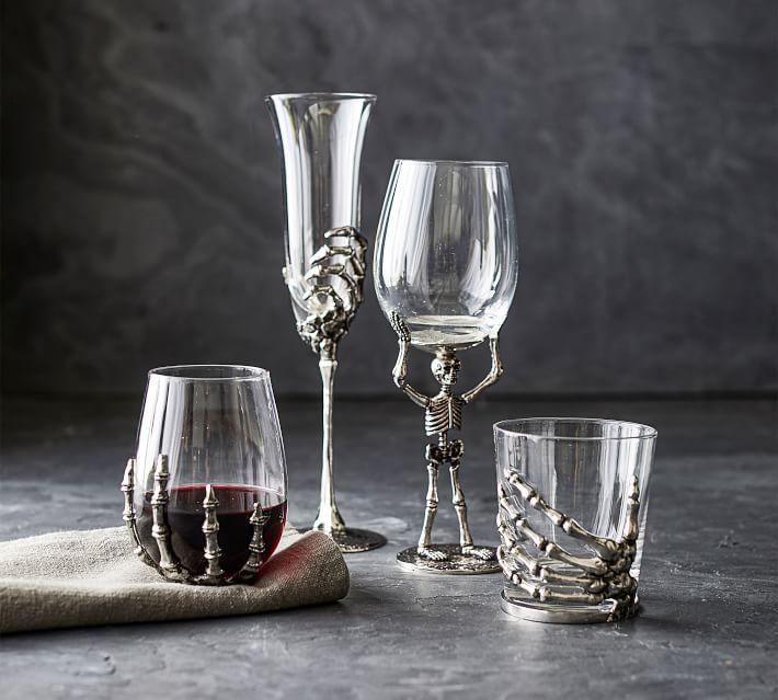 halloween skeleton stemless wine glasses