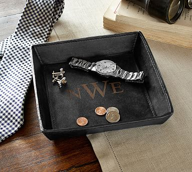 Saddle Leather Catchall Charcoal Pottery Barn
