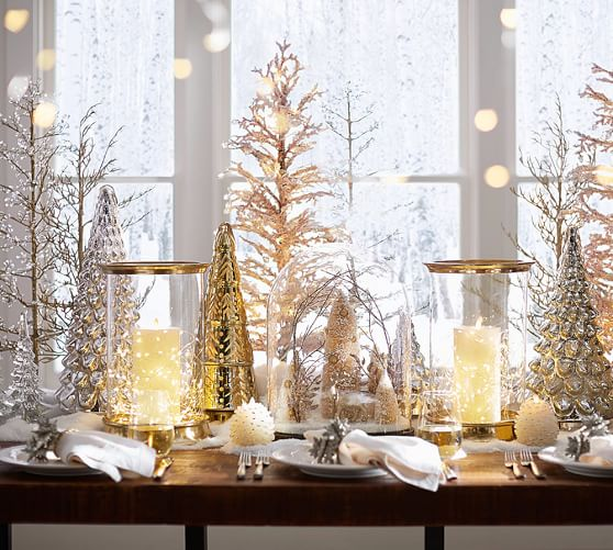 Mercury Glass Tree Cloches Pottery Barn