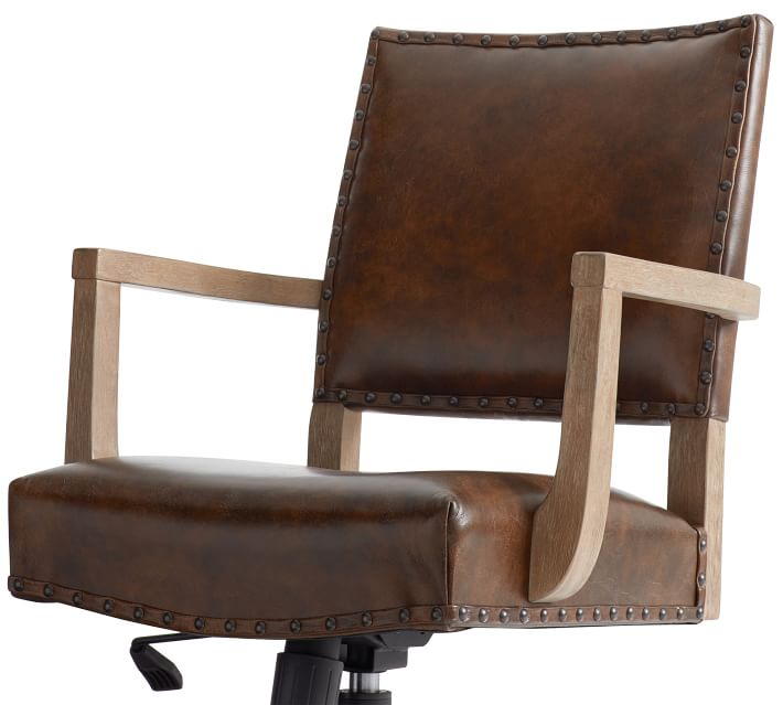 Manchester Leather Swivel Desk Chair Pottery Barn