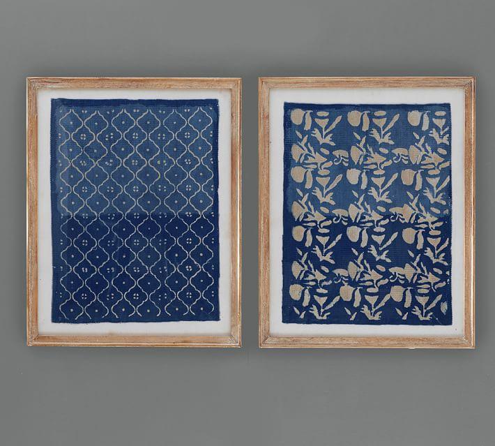 Framed Blue Textile Art Wall Decor Pottery Barn
