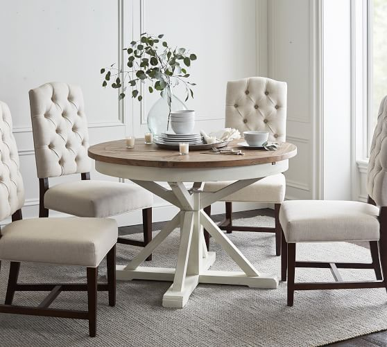 Hart Round Reclaimed Wood Pedestal Extending Dining Table | Pottery Barn