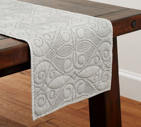 Washed Cotton Quilted Table Runner Pottery Barn
