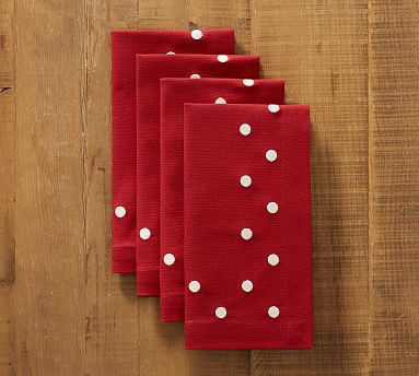 4 Pottery Barn Polka Dot Embroidered Cocktail Napkins Set of Red /& White New