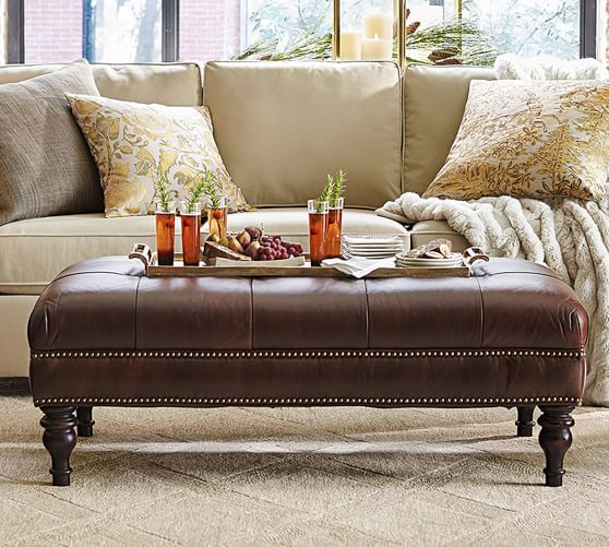 Martin Tufted Leather Ottoman Pottery Barn