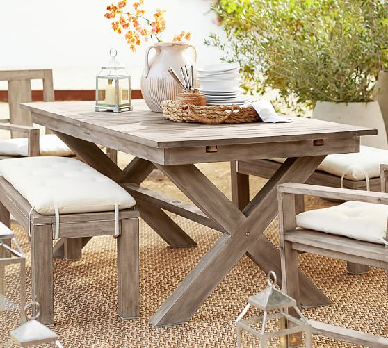 Indio Fsc Eucalyptus X Base Extending Dining Table Pottery Barn