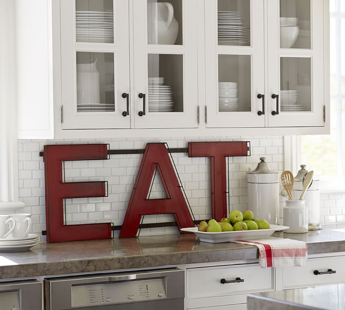 Red Eat Sign Wall Decor Pottery Barn