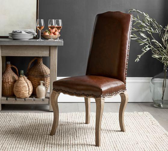 Calais Leather Dining Chair Pottery Barn