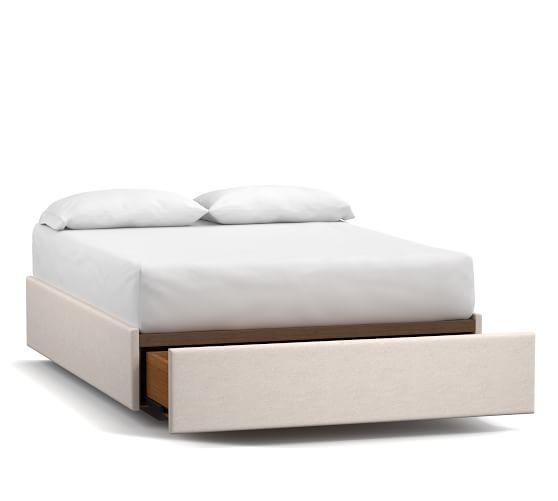 Upholstered Storage Platform Bed With Footboard Storage Pottery Barn