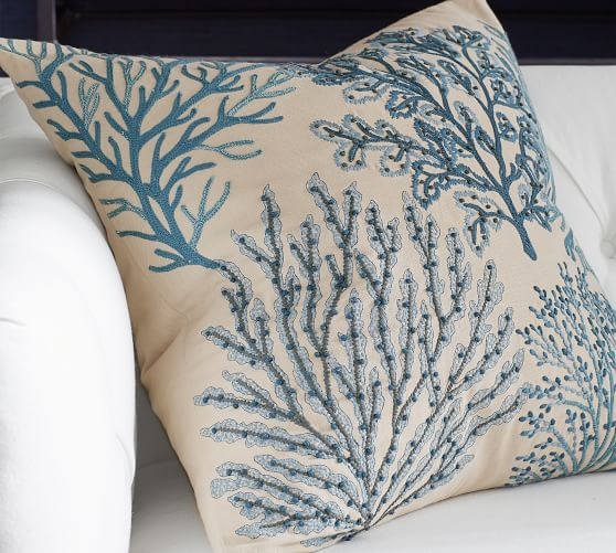 Layered Coral Decorative Pillow Cover Pottery Barn