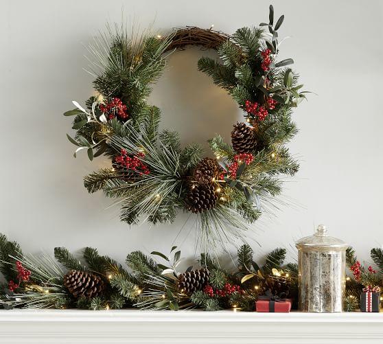 Pre Lit Faux Wintergreens Wreath Garland Pottery Barn