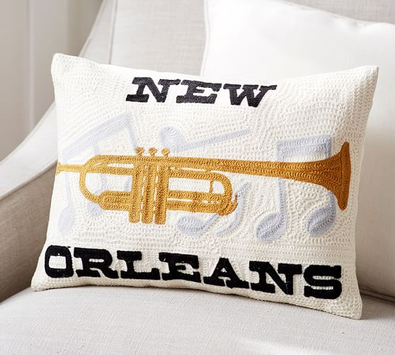 New Orleans Crewel Embroidered Decorative Pillow Pottery Barn