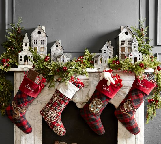Personalized Embellished Plaid Stockings Pottery Barn