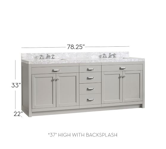 Davis 78 25 Double Sink Vanity With Drawers Pottery Barn
