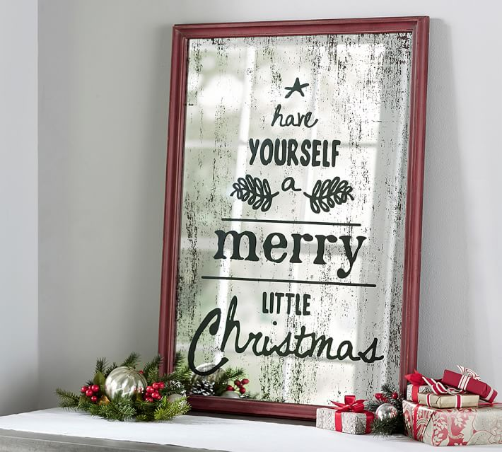 Merry Christmas Mirrored Art Wall Decor Pottery Barn